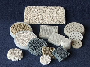 Refractory ceramics and metal processing products including filters